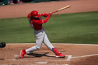 Philadelphia Phillies Alec Bohm (28) bats during a Major League Spring Training game against the Baltimore Orioles on March 12, 2021 at the Ed Smith Stadium in Sarasota, Florida.  (Mike Janes/Four Seam Images)