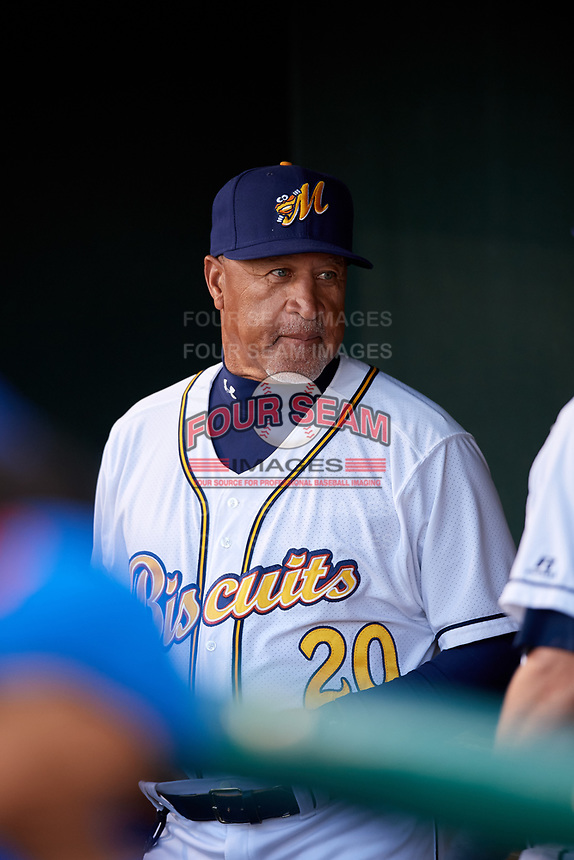 Montgomery Biscuits coach Gary Redus (20) in the dugout before a game against the Mississippi Braves on April 24, 2017 at Montgomery Riverwalk Stadium in Montgomery, Alabama.  Montgomery defeated Mississippi 3-2.  (Mike Janes/Four Seam Images)