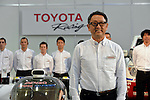 January 30, 2014, Tokyo, Japan - President Akio Toyoda of Japan's Toyota Motor Corp., poses with drivers and staff of its racing tream during a presentation its motor sports activities for 2014 in Tokyo on Thursday, January 30, 2014. They will include participation in the FIA World Endurance Championship and the Le Mans 24-hour race, the NASCAR racing series and the Super GT and Super Formula championships. Toyoda said its motor sports activities through Lexus Racing and Toyota Racing are aimed to bring more joy to more people through automobiles.  (Photo by Natsuki Sakai/AFLO)