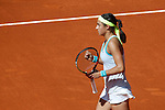 Caroline Garcia from France celebrates during her Madrid Open tennis tournament match against Maria Sharapova from Russia in Madrid, Spain. May 06, 2015. (ALTERPHOTOS/Victor Blanco)