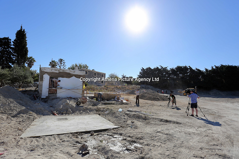 Pictured: Builders reconstruct the cesspit and part of the house -where Ben Needham disappeared from- which had to be demolished for the investigation in Kos, Greece. Friday 14 October 2016<br />Re: Police teams led by South Yorkshire Police are searching for missing toddler Ben Needham on the Greek island of Kos.<br />Ben, from Sheffield, was 21 months old when he disappeared on 24 July 1991 during a family holiday.<br />Digging has begun at a new site after a fresh line of inquiry suggested he could have been crushed by a digger.