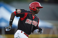 Batavia Muckdogs outfielder Galvi Moscat (27) runs to first during a game against the Vermont Lake Monsters August 9, 2015 at Dwyer Stadium in Batavia, New York.  Vermont defeated Batavia 11-5.  (Mike Janes/Four Seam Images)