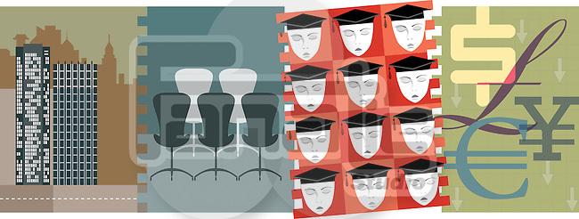 Illustrative representation showing employees selection
