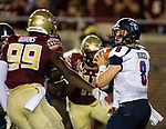 Samford quarterback Devlin Hodges passes against Florida State during an NCAA college football game in Tallahassee, Fla.,Saturday, Sept. 8, 2018.  Florida State defeated Sanford 36 to 26.