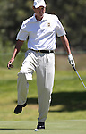Rick Rhoden reacts to a missed putt during a practice round at the 22nd American Century Celebrity Golf Championship at Edgewood Tahoe Golf Course in Stateline, Nev., on Wednesday, July 13, 2011. Rhoden has won the event eight times. .Photo by Cathleen Allison