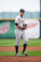 Burlington Bees starting pitcher Ronnie Glenn (25) gets ready to deliver a pitch during a game against the Quad Cities River Bandits on May 9, 2016 at Modern Woodmen Park in Davenport, Iowa.  Quad Cities defeated Burlington 12-4.  (Mike Janes/Four Seam Images)