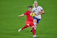 18th February 2021, Orlando, Florida, USA;  Canada midfielder Jessie Fleming (17) kicks the ball during a SheBelieves Cup game between Canada and the United States on February 18, 2021 at Exploria Stadium in Orlando, FL.