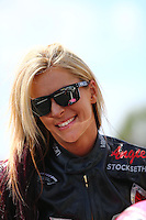 Mar 14, 2015; Gainesville, FL, USA; NHRA pro stock motorcycle rider Angie Smith during qualifying for the Gatornationals at Auto Plus Raceway at Gainesville. Mandatory Credit: Mark J. Rebilas-