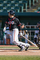 Brian Van Kirk #44 of the Lansing Lugnuts follows through on his swing versus the South Bend Silver Hawks at Coveleski Stadium April 15, 2009 in South Bend, Indiana. (Photo by Brian Westerholt / Four Seam Images)