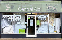 Central Aid charity shop is closed to shop but remains open for donations only in High Wycombe during the Covid-19 pandemic where the country is in a restricted lockdown. <br /> Photo by Andy Rowland on April 3rd 2020.