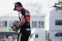 winner Greg Van Avermaet (BEL/BMC) taking his trophy home<br /> <br /> 115th Paris-Roubaix 2017 (1.UWT)<br /> One day race: Compiègne > Roubaix (257km)