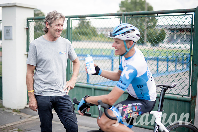 former winner in Roubaix (and now DS) Dirk Demol in conversation with Nils Politt (DEU/Israel - StartUp Nation) after the recon<br /> <br /> reconnaissance of the (delayed, due to the Covid19 pandemic) Paris-Roubaix course by Team Israel - StartUp Nation <br /> <br /> Nord-Pas de Calais region (FRA), 17 july 2020<br /> ©kramon