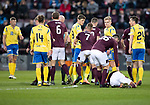 Hearts v St Johnstone…..14.12.19   Tynecastle   SPFL<br />Murray Davidson is booked for a challenge on Sean Clare<br />Picture by Graeme Hart.<br />Copyright Perthshire Picture Agency<br />Tel: 01738 623350  Mobile: 07990 594431