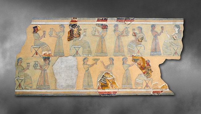 The Minoan ' Camp Stool' wall art fresco from the West vwing of Knossos Palace, 1450-1300 BC. Heraklion Archaeological Museum.  Grey Background. <br /> <br /> This Minoan fresco probably depicted a typical banquet at Knossos Palace held in the Upper Hall of the West Wing. Figures seated on 'camp stools' are raising cups and kylikes. A female figure with Mediterranean features wearing vivid make up named ' La Parisienne' by Arthur Evans, has a large 'sacred knot' bunched behind her head and maybe she was a priestess.