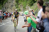 Sylvain Chavanel (FRA/DirectEnergie) up the Montée de Bisanne (HC/1723m/12.4km/8.2%)<br /> <br /> Stage 19:  Albertville › Saint-Gervais /Mont Blanc (146km)<br /> 103rd Tour de France 2016