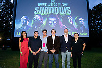 """Staten Island, NY - AUGUST 17: Marika Sawyer, William Meny, Moderator Dan Nuxoll, Paul Simms, Sam Johnson and Sarah Naftalis attend the premiere event for FX's """"What We Do in the Shadows"""" at Snug Harbor on August 17, 2021 in Staten Island, New York. (Photo by Ben Hider/FX/PictureGroup)"""