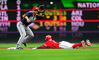 5 July 2009: Washington Nationals' center fielder Nyjer Morgan slides safely ahead of the throw, as he steals second against the Atlanta Braves at Nationals Park in Washington, DC. The Nationals defeated the Braves 5-3 to take the rubber game of their 3-game weekend series. Mandatory Credit: Ed Wolfstein Photo