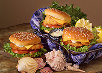 Trio of fish sandwiches.