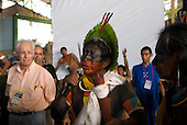 "Altamira, Brazil. Encontro Xingu protest meeting about the proposed Belo Monte hydroeletric dam and other dams on the Xingu river and its tributaries. A Kayapo leader telling the Indians to ""stay put""."