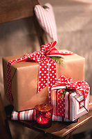 Christmas presents on a rustic chair