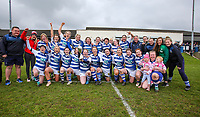 Sunday 7 April 2019 | Carrick W vs Dungannon W<br /> <br /> Dungannon celebrate after the Rejenerate Cup Final between Carrick and Dungannon at Super Sunday Finals Day at Tom Simms Memorial Park, Carrickfergus RFC, County Antrim, Northern Ireland . Photo by John Dickson / DICKSONDIGITAL