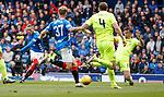 05.05.2019 Rangers v Hibs: Ryan Kent has a dig