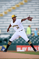 Bradenton Marauders starting pitcher Pedro Vasquez (30) delivers a pitch during a game against the Tampa Tarpons on August 12, 2018 at LECOM Park in Bradenton, Florida.  The game was suspended in the bottom of the first inning due to weather.  (Mike Janes/Four Seam Images)