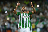 MEDELLIN-COLOMBIA, 26-10-2016. Miguel Borja  jugador de  Atlético Nacional de Colombia celebra su gol  contra Coritiba de Brasil  durante encuentro  por la Copa Sudamericana 2016 cuartos  de final  disputado en el estadio Atanasio Girardot./ Miguel Borja  player of  Atletico Nacional of Colombia celerates his goal l agaisnt  of Coritiba of Brazil during match for the Sudamericana Cup 2016  played at Atanasio Girardot stadium . Photo:VizzorImage / León Monsalve / Contribuidor