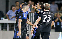 SAN JOSE, CA - AUGUST 31: Chris Wondolowski of the San Jose Earthquakes scores and celebrates with his teammates during a Major League Soccer (MLS) match between the San Jose Earthquakes and the Orlando City SC  on August 31, 2019 at Avaya Stadium in San Jose, California.