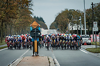 road marchal splitting the peloton<br /> <br /> 44th AG Driedaagse Brugge-De Panne 2020 (1.UWT / BEL)<br /> 1 day race from Brugge to De Panne (203km shortened to 188km due to the windy weather conditions) <br /> <br /> ©kramon