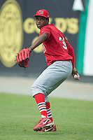 Johnson City pitcher Omar Javier (39) does some throwing in the outfield at Burlington Athletic Park in Burlington, NC, Sunday, July 15, 2007.