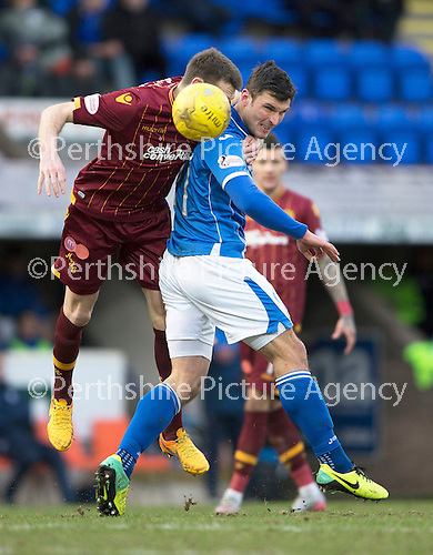 St Johnstone v Motherwell…20.02.16   SPFL   McDiarmid Park, Perth<br />John Sutton and Stephen McManus<br />Picture by Graeme Hart.<br />Copyright Perthshire Picture Agency<br />Tel: 01738 623350  Mobile: 07990 594431
