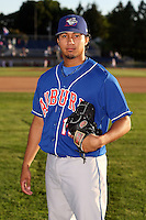 August 28th, 2007:  Javier Nieves of the Auburn Doubledays, Class-A affiliate of the Toronto Blue Jays at Dwyer Stadium in Batavia, NY.  Photo by:  Mike Janes/Four Seam Images