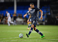 LAKE BUENA VISTA, FL - AUGUST 01: Alexander Callens #6 of New York City FC passes the ball during a game between Portland Timbers and New York City FC at ESPN Wide World of Sports on August 01, 2020 in Lake Buena Vista, Florida.