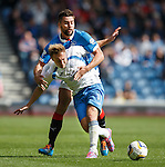 Iain Russell in close company with Darren McGregor of Rangers