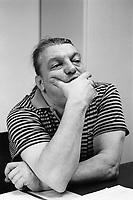 """Switzerland. Canton Ticino. Lugano. Giuliano Bignasca (born 10 avril 1945 - dead 7 march 2013). Founder and President for Life of """" Lega dei Ticinesi"""".  Giuliano Bignasca stands in his office. © 1995 Didier Ruef"""