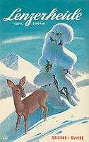 BNPS.co.uk (01202 558833)<br /> Pic: Lyon&Turnbull/BNPS<br /> <br /> Pictured: A vintage poster advertising Lenzerheide in Switzerland<br /> <br /> A stunning set of vintage ski posters depicting the halcyon days of European winter holidays has emerged for sale.<br /> <br /> They feature early lithograph prints of advertising posters for glamorous resorts including Champery and Gstaad.<br /> <br /> The earliest posters in the sale date from the turn of the 20th century, with the most recent examples from the 1960s.<br /> <br /> Seventy posters, which range in value from £300 to £9,000, are being sold by Lyon & Turnbull, of Edinburgh, in conjunction with poster specialists Tomkinson Churcher.<br /> <br /> As transport links improved in the 1920s and '30s, skiing holidays grew in popularity. To take advantage of this boom, prestigious resorts commissioned the finest graphic artists to create art deco style advertisements urging holiday-makers to visit.