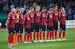 Dundee v St Johnstone....08.11.14   SPFL<br /> The players observe a minutes silence for Remembrance Day<br /> Picture by Graeme Hart.<br /> Copyright Perthshire Picture Agency<br /> Tel: 01738 623350  Mobile: 07990 594431