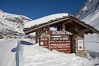 Sign at the entrance to Bonneval sur Arc, Savoie, France, 17 February 2012.