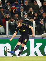 Football Soccer: UEFA Champions League Juventus vs Tottenahm Hotspurs FC Round of 16 1st leg, Allianz Stadium. Turin, Italy, February 13, 2018. <br /> Tottenham's Harry Kane in action during the Uefa Champions League football soccer match between Juventus and Tottenahm Hotspurs FC at Allianz Stadium in Turin, February 13, 2018.<br /> UPDATE IMAGES PRESS/Isabella Bonotto