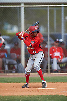 Canada Junior National Team Leroux Brando (11) bats during an exhibition game against the Toronto Blue Jays on March 8, 2020 at Baseball City in St. Petersburg, Florida.  (Mike Janes/Four Seam Images)