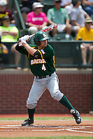 Baylor Bears designated hitter Nathan Orf #4 at bat during the NCAA Regional baseball game against Oral Roberts University on June 3, 2012 at Baylor Ball Park in Waco, Texas. Baylor defeated Oral Roberts 5-2. (Andrew Woolley/Four Seam Images)