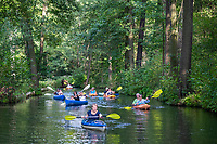 Paddler auf einem Fließ, Biosphärenreservat Spreewald, Brandenburg, Deutschland