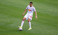 CARSON, CA - APRIL 25: Aaron Long  #33 of the New York Red Bulls moves to the ball during a game between New York Red Bulls and Los Angeles Galaxy at Dignity Health Sports Park on April 25, 2021 in Carson, California.