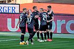 Torjubel von Dennis Borkowski (#19, 1. FC Nürnberg) mit Robin Hack (#17, 1. FC Nürnberg) und Mats Moller Daehli  (#24, 1. FC Nürnberg) und Johannes Geis (#5, 1. FC Nürnberg). Jubel. Torschütze., , Nürnberg, Deutschland, 27 April, 2021. Max Morlock Stadion beim Spiel in der 2. Bundesliga, 1. FC Nürnberg - Holstein Kiel    <br /> <br /> Foto © PIX-Sportfotos *** Foto ist honorarpflichtig! *** Auf Anfrage in hoeherer Qualitaet/Aufloesung. Belegexemplar erbeten. Veroeffentlichung ausschliesslich fuer journalistisch-publizistische Zwecke. For editorial use only. DFL regulations prohibit any use of photographs as image sequences and/or quasi-video.