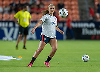HOUSTON, TX - JUNE 13: Lindsey Horan #9 of the USWNT warms up before a game between Jamaica and USWNT at BBVA Stadium on June 13, 2021 in Houston, Texas.