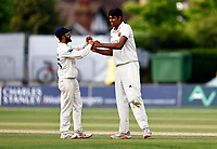 Jas Singh (R) of Kent is congratulated by Hamid Qadri after taking the wicket of Ali Orr during Kent CCC vs Sussex CCC, LV Insurance County Championship Group 3 Cricket at The Spitfire Ground on 13th July 2021