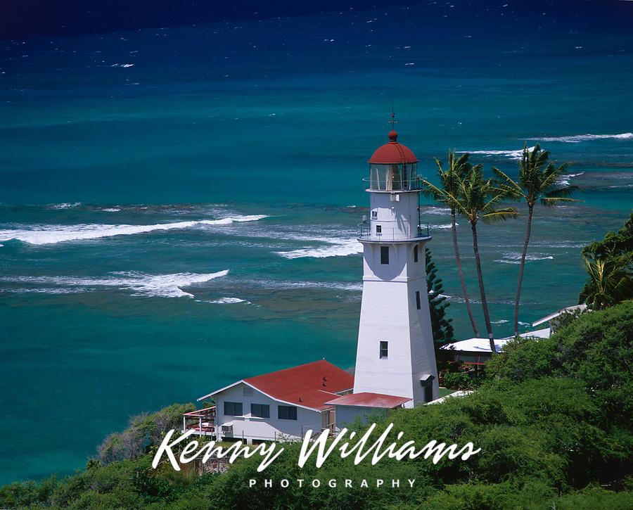 Diamond Head Lighthouse, Oahu, Hawaii, USA.