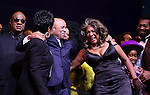 Gladys Knight, Stevie Wonder, Berry Gordy, Diana Ross, Mary Wilson, Valisia LeKae, Raymond Luke Jr., Brandon Victor Dixon,  & Company  during the Broadway Opening Night Performance Curtain Call for 'Motown The Musical'  at the Lunt Fontanne Theatre in New York City on 4/14/2013..