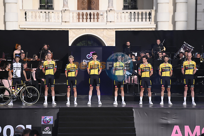 Team Jumbo-Visma on stage at team presentation of the 2021 Giro d'Italia inside the Cortile d'Onore of the Castello del Valentino, on the occasion of the 160th anniversary of the Unification of Italy, Turin, Italy. 6th May 2021.  <br /> Picture: LaPresse/Fabio Ferrari | Cyclefile<br /> <br /> All photos usage must carry mandatory copyright credit (© Cyclefile | LaPresse/Fabio Ferrari)